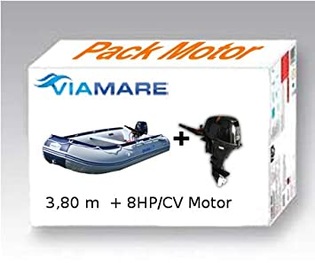 VIAMARE Pack Embarcacion Lancha neumatica, Barca Hinchable, Barco ...