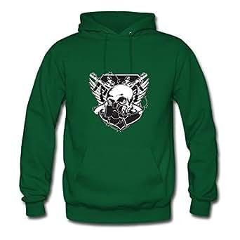 Miltoncurtis X-large Elegent Green Sweatshirts - Skull Emblem Painting,women