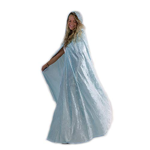 Everfan Light Blue Hooded Cape | Cloak with Hood for Halloween, Cosplay, Costume, Dress Up -