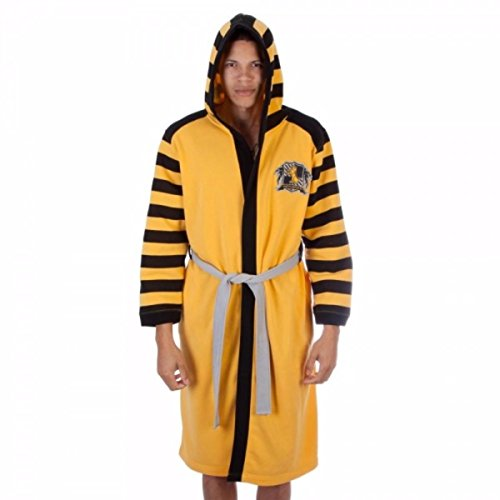 Harry Potter HUFFLEPUFF House Logo With Crest Fleece BATHROBE With HOOD (Small/Medium) (Hufflepuff Robes)