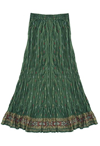 Anu Pure Cotton Hand Block Printed Crinkled/Crushed Long Skirt: Sage Green: 2X