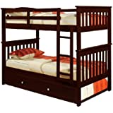 Bunk Bed Twin over Twin Mission style in Cappucino with Twin Trundle