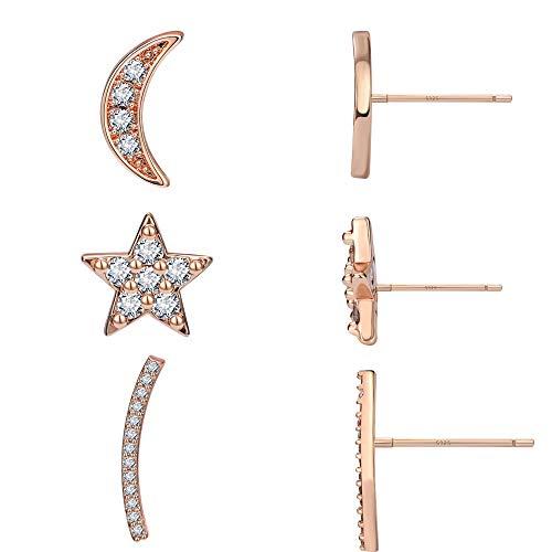 Girls Cute Mini Earrings Jewelry Rose Gold Star Stud Earring Cute Moon Earrings Women Set