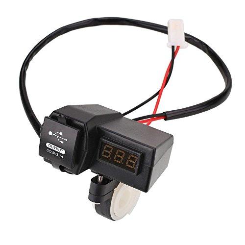 Duoying El voltímetro Rojo Muestra el Cargador de Coche USB para Motocicletas multifunción de Dos en uno