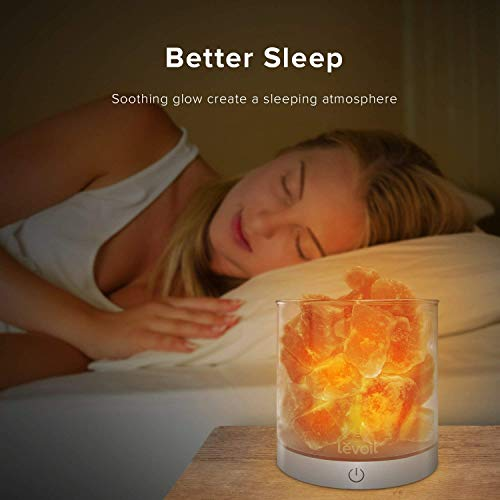 Levoit Cora Himalayan Salt Lamp, Natural Hymalain Pink Salt Rock Lamps, USB Himilian Sea Salt Crystal Night Light with Touch Dimmer Switch,3 Bulbs,UL-Listed Cord & Luxury Gift Box by LEVOIT (Image #6)