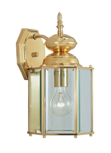 Livex Lighting 2007-02 Outdoor Wall Lantern with Clear Beveled Glass Shades, Polished Brass