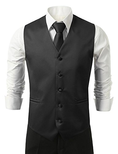 Brand Q Men's Tuxedo Vest, Tie & Pocket Square Set-Black-XL