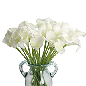 Artificial Flowers, Fake Flowers Artificial Calla Lily Bridal Wedding Bouquet for Home Garden Party Wedding Decoration 20Pcs (Pure White) 7
