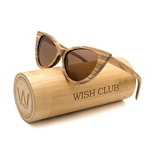 WISH CLUB Cat Eye Bamboo Polarized Sunglasses Wood for Women Girls Handmade Mirrored Lenses Vintage Wooden UV400 Eyewear Fashion Light Cute Sun Glasses with Box (Brown)