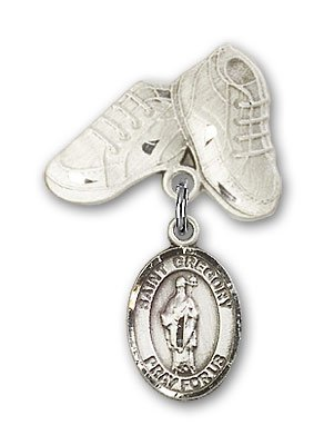 Sterling Silver Baby Badge with St. Gregory the Great Charm and Baby Boots Pin