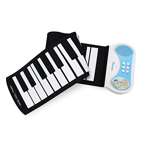 Eoncore Portable 37-Keys Mini Roll up Soft Silicone Flexible Electronic Digital Music Keyboard Piano with Loud Speaker for kids Blue