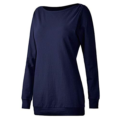 Keliay Bargain Women Long Sleeve Cotton Solid Loose T-Shirt Blouses Tops Sweatshirt