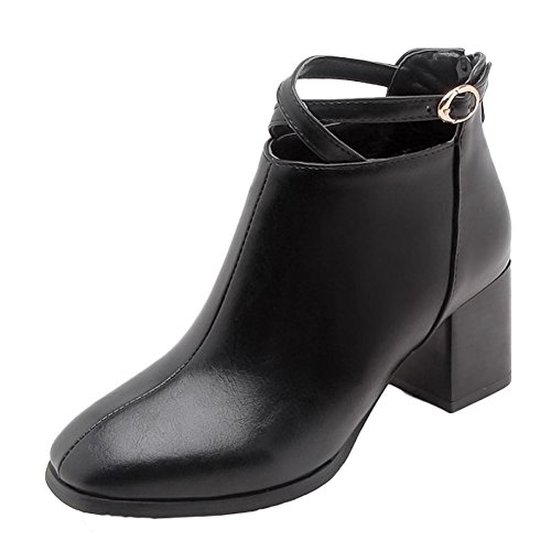 Short Carolbar Square Women's Buckle High Black Boots Toe Heel Block wHw1vO0q