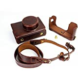 Newlan Protective Compact Leather Case with Shoulder Strap for Fujifilm X100, Fujifilm X100S, Fujifilm X100T(Coffee)
