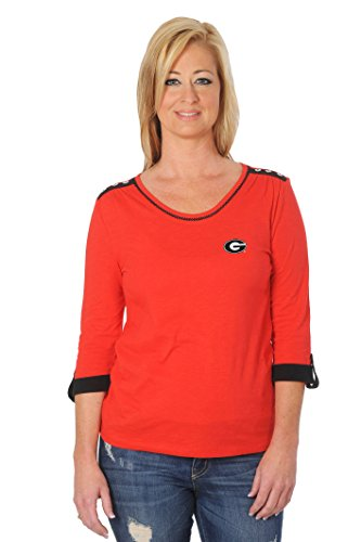 UG Apparel NCAA Georgia Bulldogs Women's Roll-Up Top, X-Large, (Georgia Bulldogs Top)