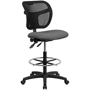 Amazon Com Flash Furniture Mid Back Gray Mesh Drafting