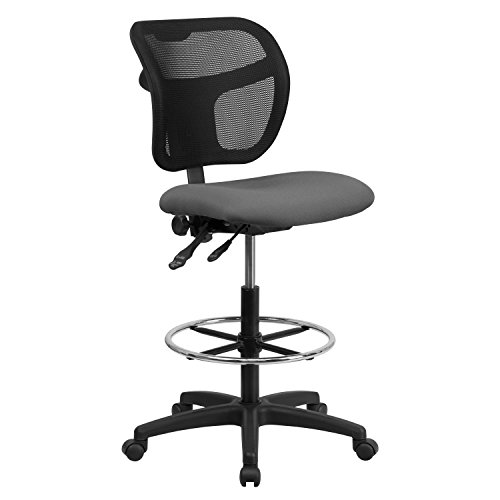 (Flash Furniture Mid-Back Gray Mesh Drafting Chair)