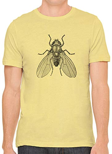 Austin Ink Apparel House Fly Drawing Cotton Crewneck Unisex T-Shirt Yellow 2XL