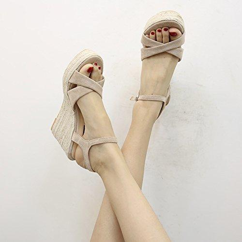 estivo sandali paglia Tacco a aperta Bohemia con B YMFIE donna in spillo sandali Comodi punta con Fashion pwAZnqYtq