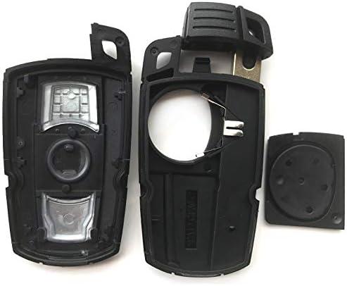 Smart Car Key Shell case Cover for BMW 525i 325i M6 M5 650i 550i 128i 135i 328i 328xi 330Ci 330xi 335i 1 3 5 7 X5 X6 KR55WK49127 for 5 6 Series 3 Button Keyless Entry Fob Remote Key housing