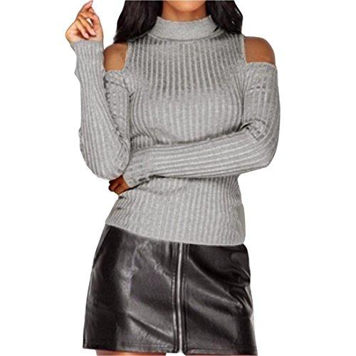 lavorato Manica lunga ponticello sottile donne maglione Grigio Pullover Koly Tops maglia a camicetta UFtwUdq