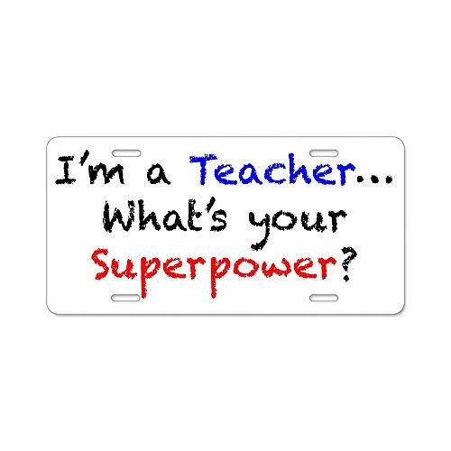 CafePress - teacherpower Aluminum License Plate - Aluminum License Plate, Front License Plate, Vanity Tag