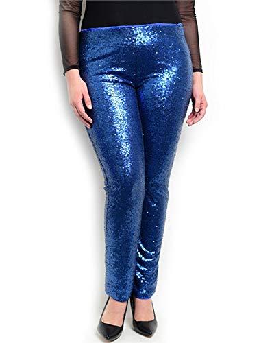 Red Dot Boutique 8025 - Plus Size Sequins Sequined Stretchy Leggings Pants (L, Blue) ()