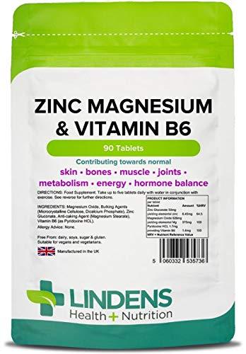 Lindens Zinc magnesio y vitamina B6 en comprimidos | 90 Paquete | Contribuye a la normalidad