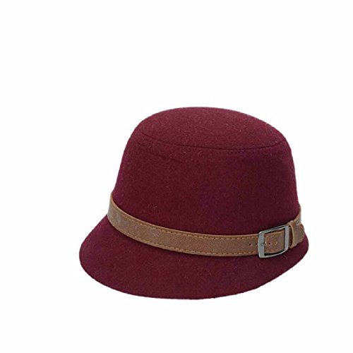 Luweki Solid Color Women Beach Belt Buckle Felt Bowler Fedora Hat Bowler Caps (Wine)