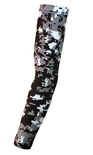 Nexxgen Sports Apparel Moisture Wicking Compression Arm Sleeve (Single) - Men, Women & Youth - 40 Colors - Digital Camo & Elite (X-Large, Black/Gray/White)