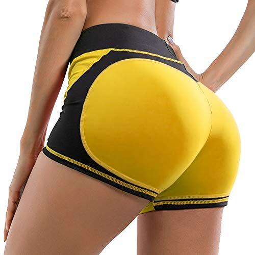YOFIT Women Yoga Pants Sport Gym Running Casual Elastic High Waist Workout Shorts Hot Pants Tummy Control Yellow S