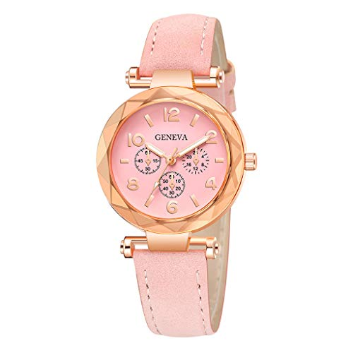 Londony✡Women's Watches Leather Rhinestone Inlaid Quartz Jelly Wristwatch Geneva Chronograph Watch with Crystals Link