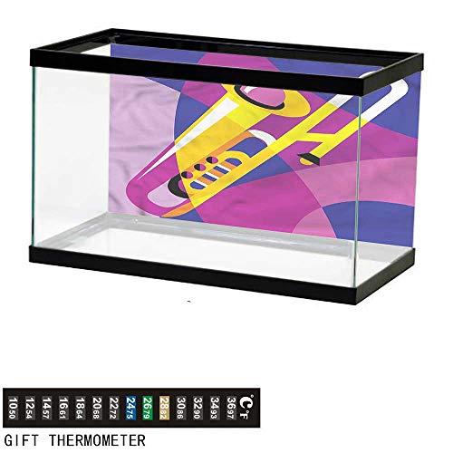 Suchashome Fish Tank Backdrop Trombone,Pop Art Groovy Jazz Music,Aquarium Background,30