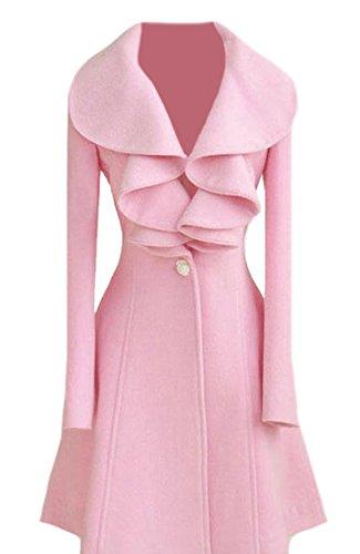 XTX Women's Ruffle Single-Breasted Wool-Blend Coat Long Trench Coat Pink S