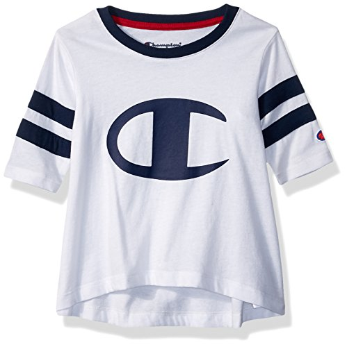 Champion Little Girls' Heritage Rugby Style Long Sleeve Tee, White, 3T by Champion