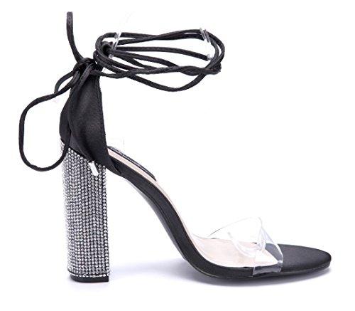 Schuhtempel24 Damen Schuhe Sandaletten Sandalen Blockabsatz Ziersteine 11 cm High Heels Schwarz