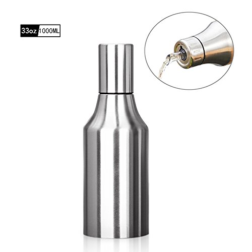 HQGOODS Oil Dispenser,Stainless Steel Olive Oil/Vinegar/Sauce Cruet Oil Bottle Edible Oil Container Pot - Non drip Pouring Spout(33 oz/1000ML) by HQGOODS
