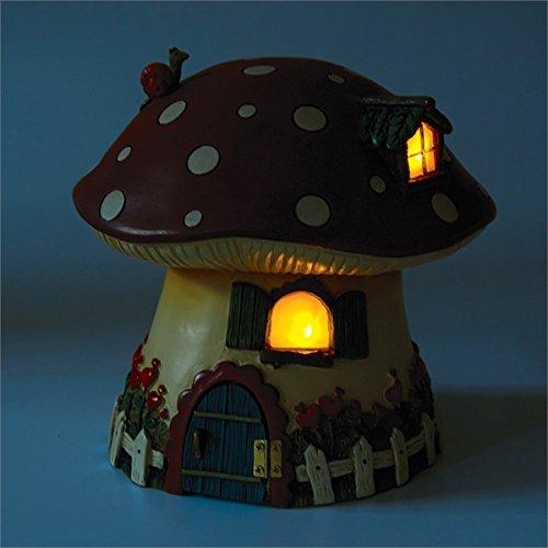 Studio M Merriment Collection Minature Solar Fairy Cottage , 7.25 x 7.5-Inches, Red Mushroom