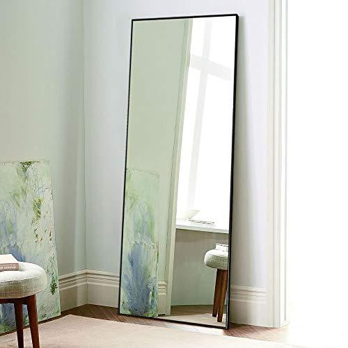 Metal Floor Mirror - NeuType Full Length Mirror Floor Mirror with Standing Holder Bedroom/Locker Room Standing/Hanging Mirror Dressing Mirror Wall-Mounted Mirror (Black)