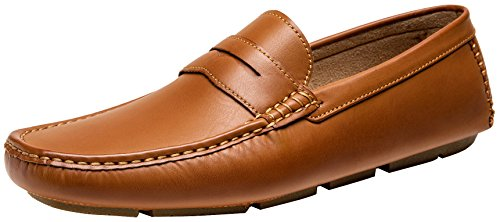 JOUSEN Men's Loafer Lightweight Slip On Driving Shoes Soft Penny Loafers (10,Brown)
