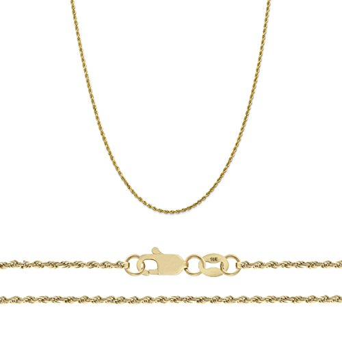 Orostar 10K Yellow Gold 1.5mm Diamond Cut Rope Chain Necklace (22) ()