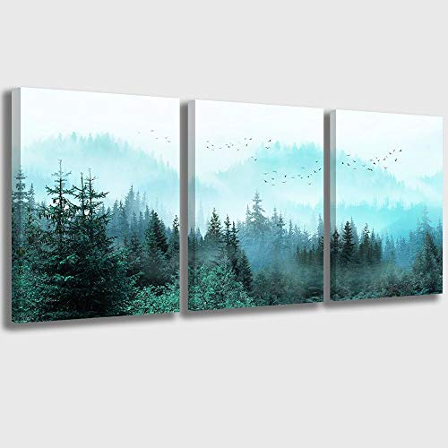 Canvas Wall Art Fresh Fog Forest Modern Nature Wall Decor for Bedroom Bathroom Living Room Stretched and Framed Ready to…