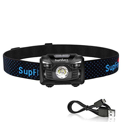 Rechargeable Headlamp,Supfire Motion Sensor Head Lamp Built-in Battery Cree Led 500 Lumens Hands Free Headlight Comfortable Elastic Headband Brightest Lamp 5 Modes Perfect for Night Fishing - Headband Spare