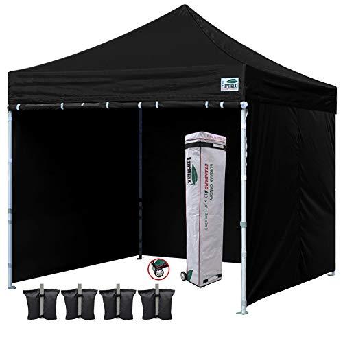Eurmax 10x10 Ez Pop-up Canopy Tent Commercial Instant Tent with 4 Removable Zipper End Side Walls and Roller Bag, Bonus 4 SandBags (Black)