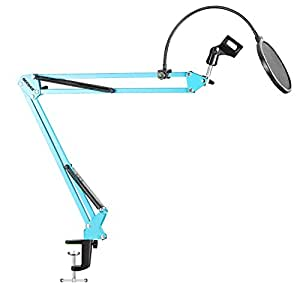 Neewer Desktop Microphone Suspension Boom Scissor Arm Stand with Microphone Clip Holder, Table Mounting Clamp and Pop Filter Windscreen Mask Shield Kit for Studio Broadcasting,Singing, Recording(Blue)