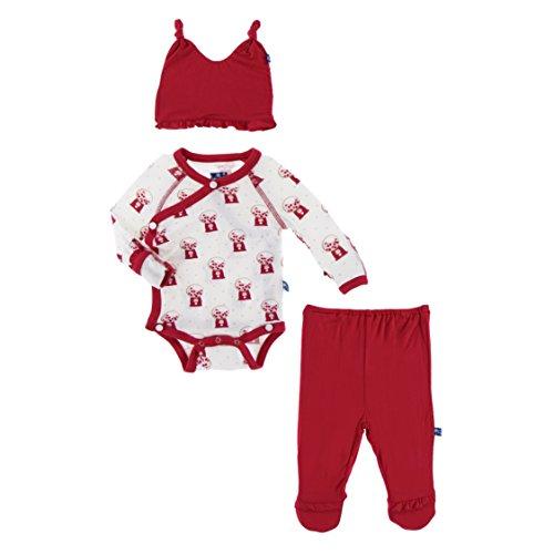 (KicKee Pants Ruffle Kimono Newborn Gift Set with Elephant Gift Box, Little Girls - Natural Gumball Machine, 0-3 Months)