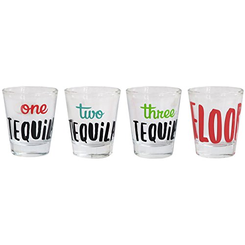 Cheers Shot Glass Set, 4 Piece Drinking Game Funny tequila themed Glasses by Style Setter