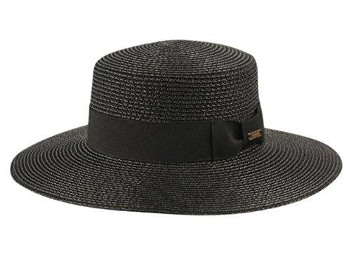 ANGELA & WILLIAM Grosgrain Band Wide Porkpie Boater Derby Flat Top Fedora Sun Hat (Metallic (Metallic Fedora Hat)
