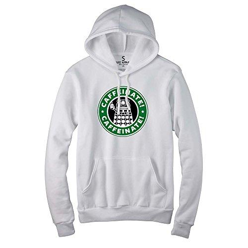 Glit-Z Unisex Caffeinate Funny Coffee Parody Funny Pullover Hoodie S White