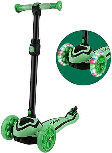 JOYGEM 2-in-1 Kids Scooter with Removable Seat, Deluxe 3 Wheel Kick Scooter, Led Flashing Wheels Adjustable Handlebar for 2-12 Years Boys Girls